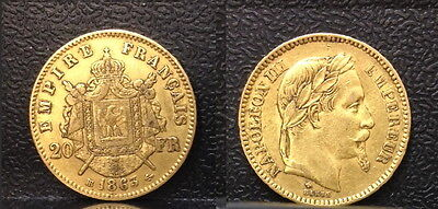 France 1863 bb-Emperor Napoleon III-lustrous high grade old 20 Franc GOLD coin.