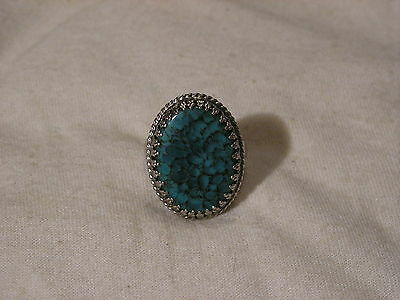 ...Whiting & Davis Silver Tone,Unusual Turquoise Glass Stone Ring...