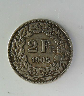Silver Swiss Helvetia two franc coin 1905