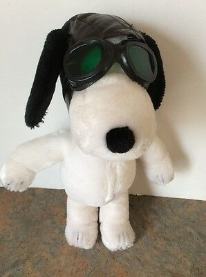 """Peanuts Snoopy Determined Productions Applause Flying Ace Pilot Plush 11"""" Dog"""