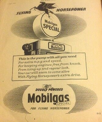 """1956 MobilOil Mobilgas Advertisement Gas Pump In Picture """" Flying Horsepower"""""""