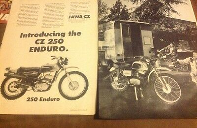 1973 CZ 250 Trail Bike 2 Page  Ad And 1972 CZ175 Trailbike Road Test 4 Pages