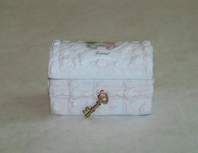 Precious Moments: MINIATURE TREASURE CHEST Trinket / Jewelry Box - FRIEND
