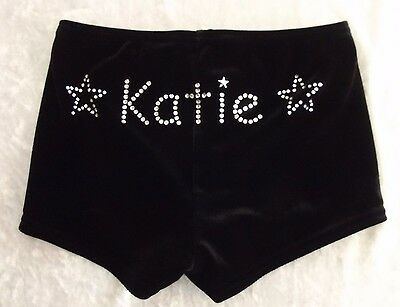 "Personalised Black Or Navy  Velvet Shorts Dance Gymnastics "" Stars Ends Motif"""