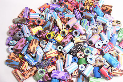 100 Mixed Tube Shaped Fimo Clay Beads 8-12mm Length Assorted Diameters