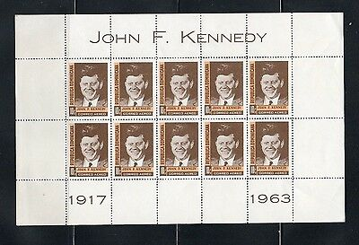 Dominican Republic 1963 J F Kennedy.sheet Of Ten Stamps.