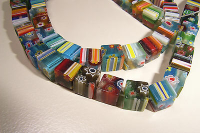 40 6mm Cube Multi Flower Millefiori Glass Beads Assorted Mixed Colours Square