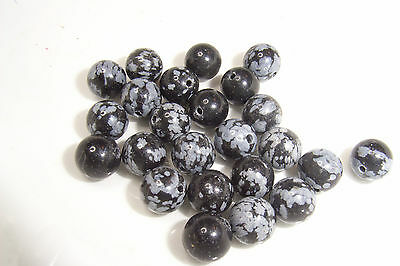 25 8mm Round Snowflake Obsidian Gemstone Beads 1mm Hole
