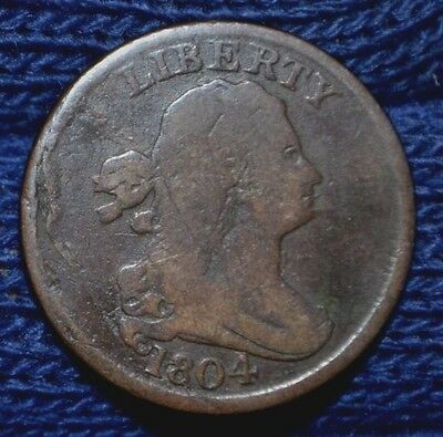 1804 Half Cent**spiked Chin***very Good+