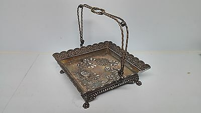 Antique Victorian Wilcox Silver Plate Repousse Handled Footed Basket Art Nouveau