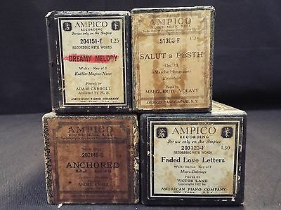 (4) Ampico Piano Rolls Faded Love Letters / Anchored & 2 More Titles (#25)