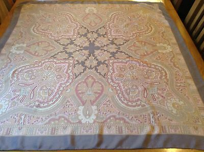 VINTAGE HAND ROLLED PAISLEY SILK SCARF.  MINT.  35 x 33 INCHES.  SUPERB!