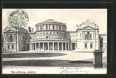 tolle AK Dublin, The Library 1906