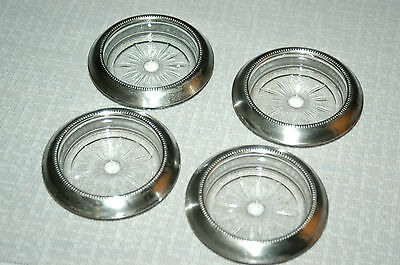 Set 4 Frank Whiting Sterling Silver & Pressed Glass Starburst Coasters EXCELLENT