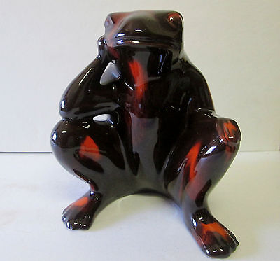 """Vintage Scarce Blue Mountain Pottery Large Red Brown Glaze Sitting Frog Canada"""""""