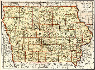 1941 Antique MAP of IOWA Map Vintage Collectible Map Gallery Wall Art 3373