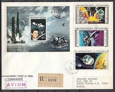 """ Chad, Scott cat. 231 A-C, 231 E. Kennedy & Apollo Program, First Day Cover."