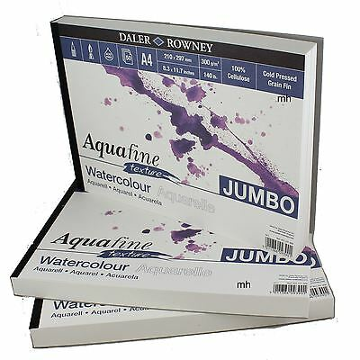 Daler Rowney watercolour paper pad Aquafine Jumbo pad texture smooth A3 or A4