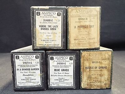 (5) Ampico Piano Rolls Blue Grass / A Perfect Day & 3 More Titles (#35)