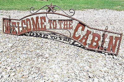 Welcome to the CABIN Sign Metal Art Wall Entry Gate 44 3/4 inch