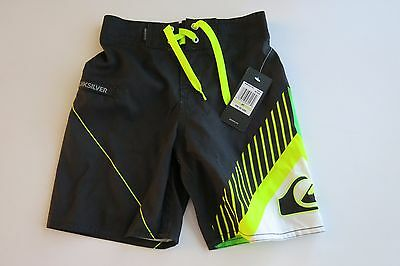 Quiksilver Boys Toddler 4/4T Board Shorts Swim Trunks Black Neon Yellow Green