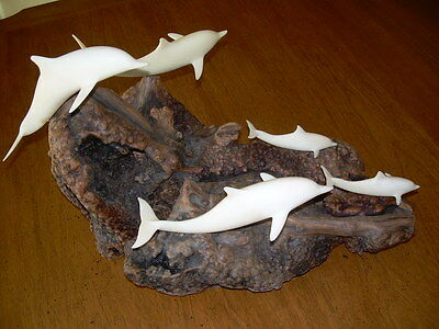 John Perry Sculpture  Of Dolphins Burl Wood Large Signed