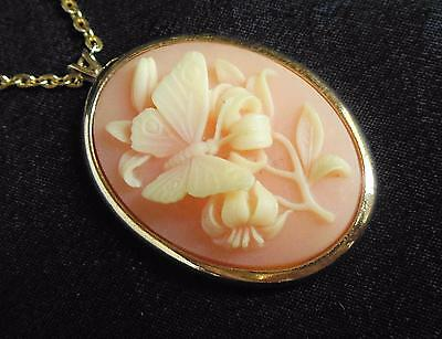 """Vintage Signed Trifari Coral Tone Butterfly Cameo on Gold Tone Chain 24"""" Long"""