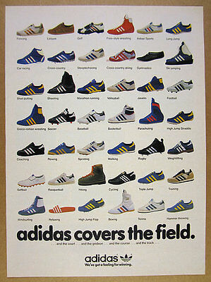 1980 Adidas Shoes 42 Styles Models Sports shoe photos vintage print Ad