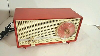 PHILIPS NORELCO B1X18A/70L AM-FM VACUUM TUBE TABLE RADIO Rare  Red Works