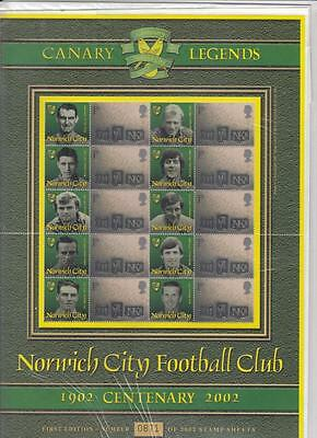 GB  BC-007 2002 Norwich City Football Club Centenary Business Smilers Sheet