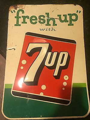 """Authentic FRESH UP WITH 7 UP METAL SIGN SIGN Made In The USA 14-8-61 17"""" x 19"""""""