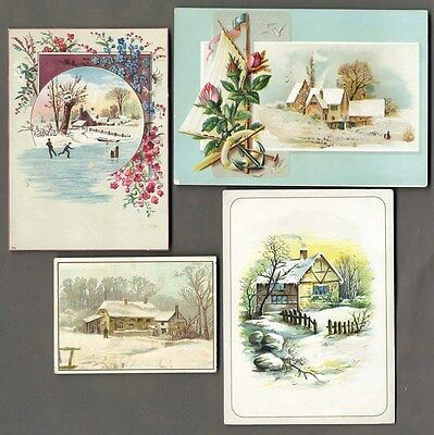 COUNTRY SNOW SCENES - 4 Victorian Greeting Cards 1880's - Cottages and Flowers