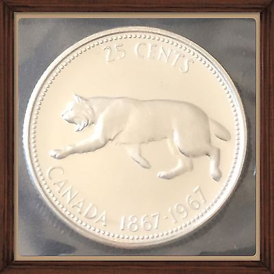 1967 GEM  LYNX Canada Silver 25 Cents  Proof-like  MS-65 Mint Sealed