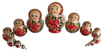 PETITE 15 RUSSIAN NESTING MATRYOSHKA DOLLS/H- 9cm/3.5in/STRAWBERRIES /FLOWERS