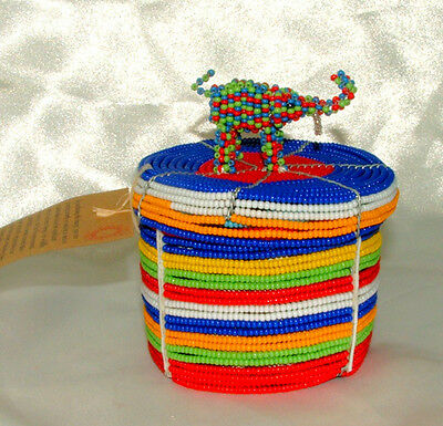 """Traditional S. African Beaded Wedding Box w Elephant top 3x2"""" FREE SHIPPING #21"""