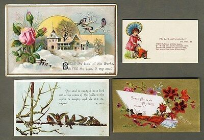 BIBLE VERSE Victorian Cards 1880's - Birds FLOWERS Snow Scene CHILD with DOLL