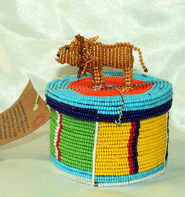"""Traditional S. African Beaded Wedding Box w Lion topper 3x2"""" FREE SHIPPING #12"""