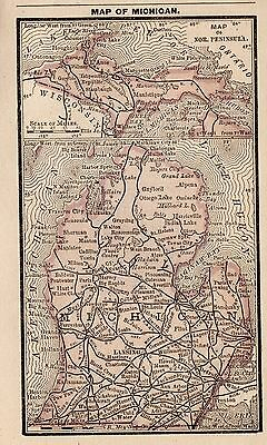 RARE Antique MICHIGAN Map 1888 RARE MINIATURE Map Michigan State Map 3397
