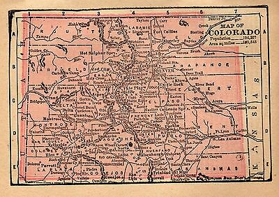 RARE Antique COLORADO Map Original 1890 MINIATURE Vintage Map of Colorado #3399