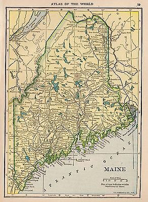 1910 Antique MAINE Map Original Map of Maine State Map Gallery Wall smap 3405
