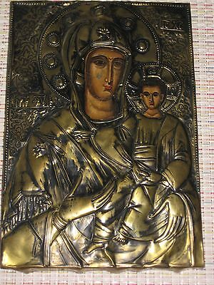 Antique Russian Greek Orthodox Icon Metal Riza Mother Of God
