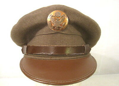 WWII US Army NCO Enlistedman Visor Service Cap or Hat w/Brown Leather Brim 7 1/4