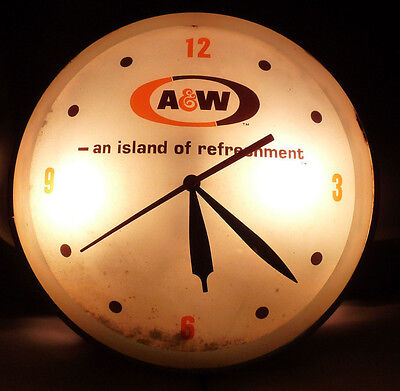 RARE Original Vintage A&W Root Beer Lighted Advertising Clock Double Bubble