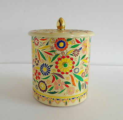 Canister Enamel Flowers Cover Vintage Holland Tin