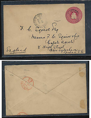British Guiana postal envelope to England  1896             MS1019