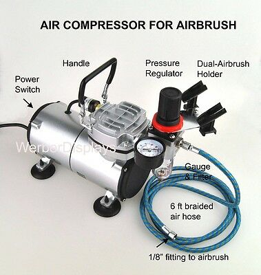 Airbrush Compressor with Regulator, Braided Hose, Holde For Tattoo Nail Art