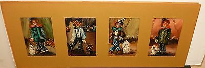 Giona Four Small Vintage Original Oil On Board Clown Paintings