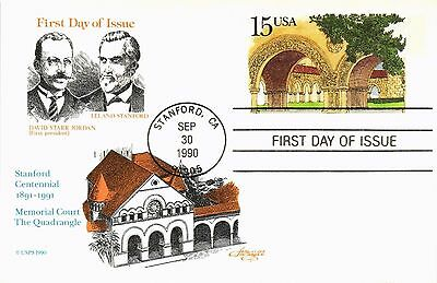 Stanford University  Centennial Fdc Artmaster Postal Card 1990