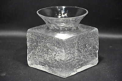 Vintage Dartington Clear Textured Glass Vase By Frank Thrower Ft101