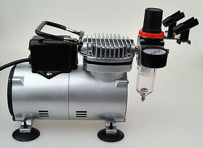 New Airbrush Compressor with Regulator, Braided Hose, Holde For Tattoo Nail Art